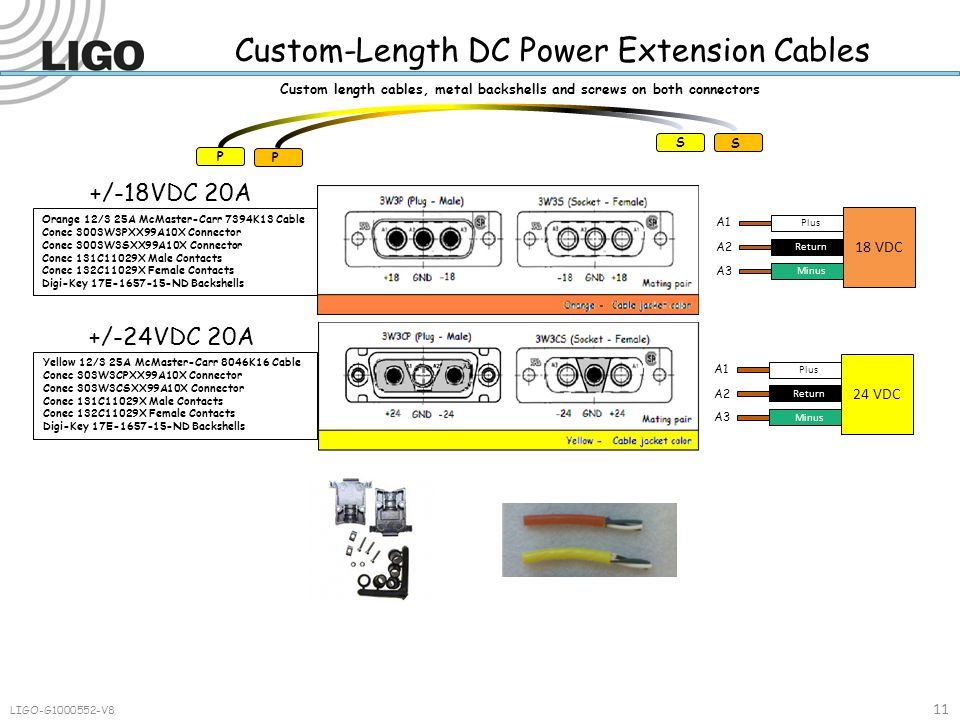 Custom-Length DC Power Extension Cables LIGO-G1000552-V8 11 Plus Return Minus 18 VDC A1 A2 A3 Plus Return Minus 24 VDC A1 A2 A3 +/-18VDC 20A Custom length cables, metal backshells and screws on both connectors P P S S Orange 12/3 25A McMaster-Carr 7394K13 Cable Conec 3003W3PXX99A10X Connector Conec 3003W3SXX99A10X Connector Conec 131C11029X Male Contacts Conec 132C11029X Female Contacts Digi-Key 17E-1657-15-ND Backshells +/-24VDC 20A Yellow 12/3 25A McMaster-Carr 8046K16 Cable Conec 303W3CPXX99A10X Connector Conec 303W3CSXX99A10X Connector Conec 131C11029X Male Contacts Conec 132C11029X Female Contacts Digi-Key 17E-1657-15-ND Backshells
