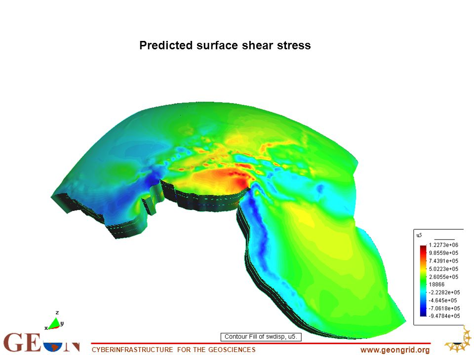 CYBERINFRASTRUCTURE FOR THE GEOSCIENCES www.geongrid.org Predicted surface shear stress