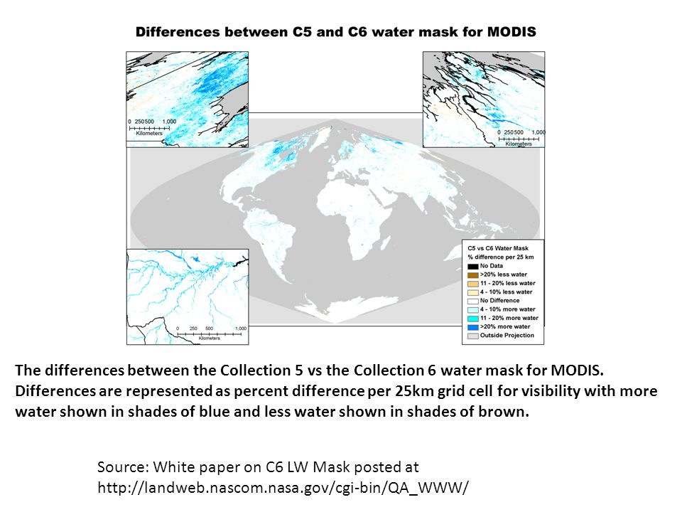 The differences between the Collection 5 vs the Collection 6 water mask for MODIS.