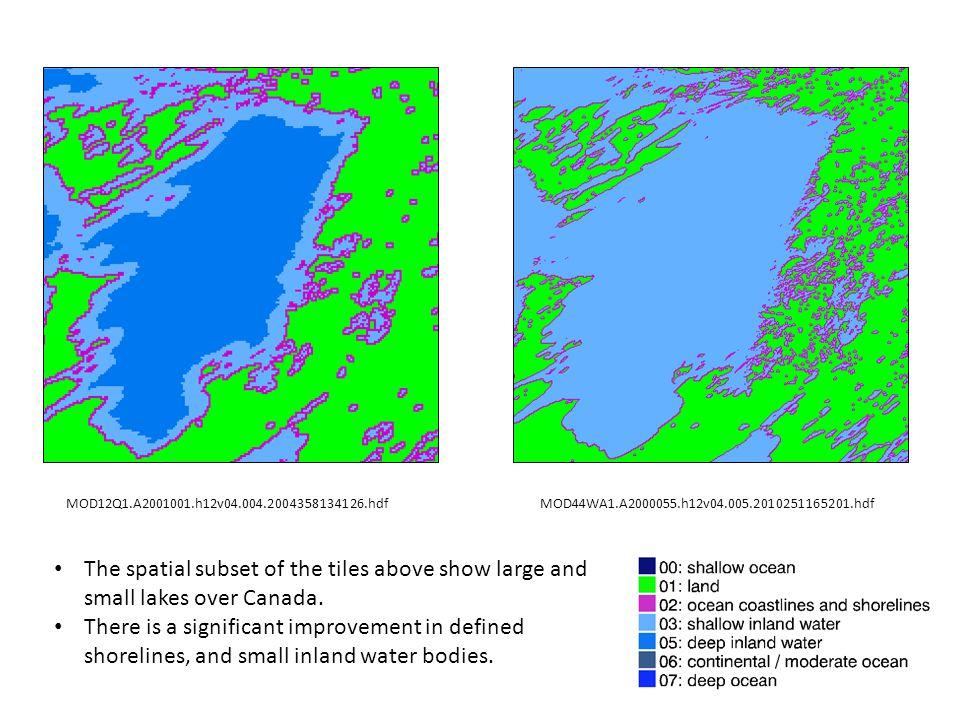 MOD12Q1.A2001001.h17v00.004.2004358134250.hdfMOD44WA1.A2000055.h17v00.005.2010251165201.hdf The spatial subset of the tiles above show tile h17v00.
