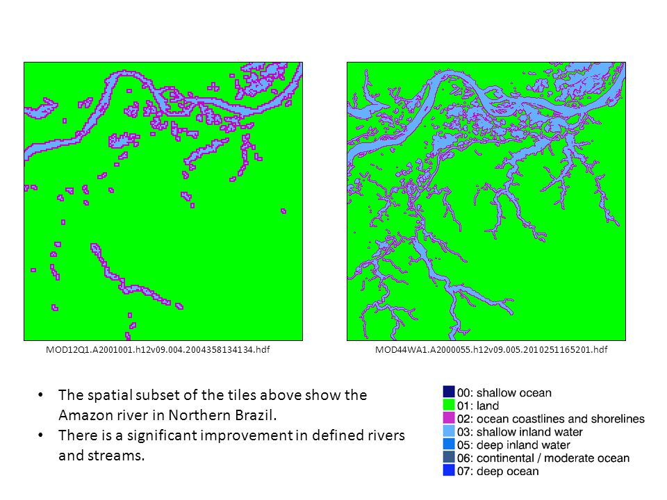 A tile level comparison of LW Mask showed four tiles of C6 LW Mask, where new land values were detected.
