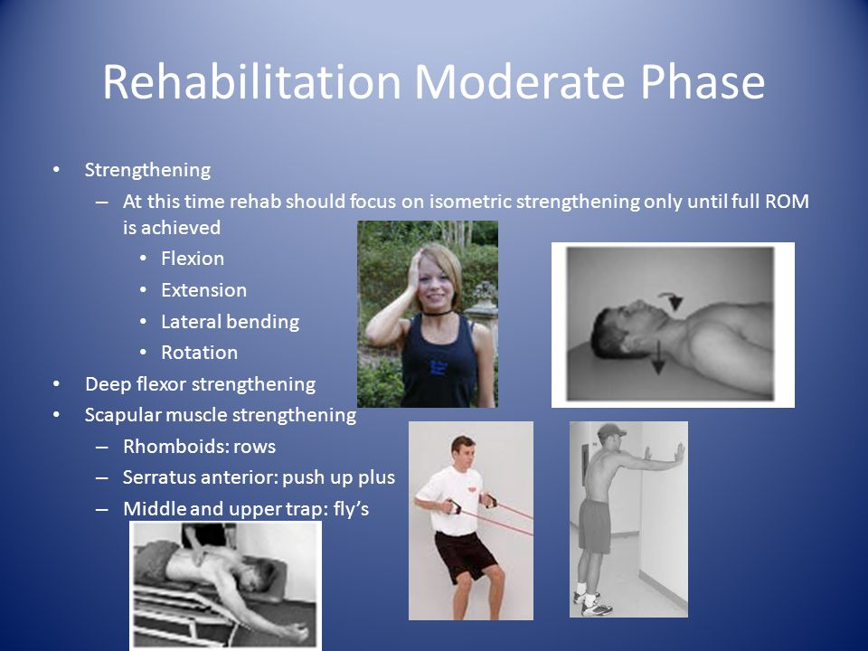 Rehabilitation Moderate Phase Strengthening – At this time rehab should focus on isometric strengthening only until full ROM is achieved Flexion Exten