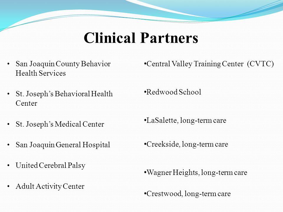 Clinical Partners San Joaquin County Behavior Health Services St. Joseph's Behavioral Health Center St. Joseph's Medical Center San Joaquin General Ho