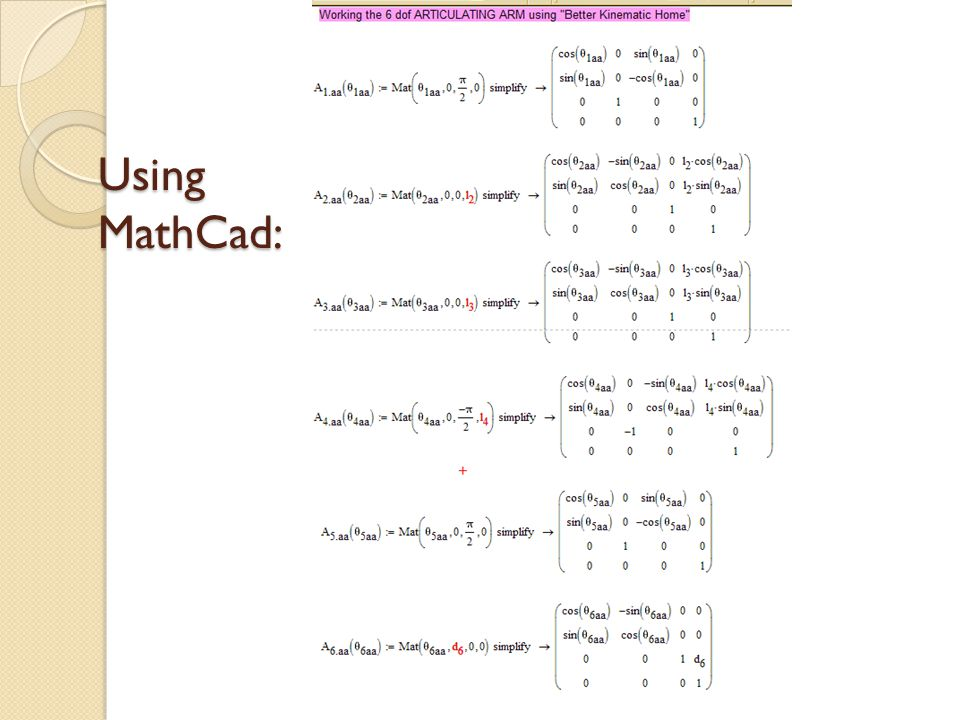 Using MathCad: