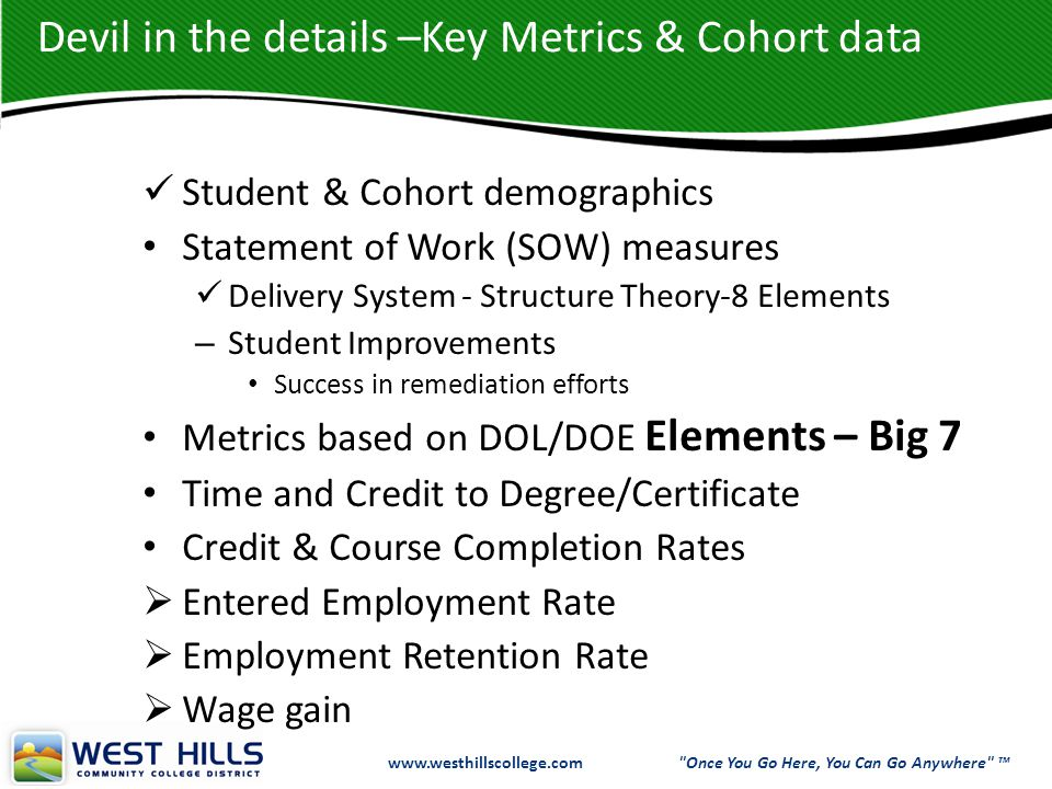 www.westhillscollege.com www.westhillscollege.com Once You Go Here, You Can Go Anywhere ™ Devil in the details –Key Metrics & Cohort data Student & Cohort demographics Statement of Work (SOW) measures Delivery System - Structure Theory-8 Elements – Student Improvements Success in remediation efforts Metrics based on DOL/DOE Elements – Big 7 Time and Credit to Degree/Certificate Credit & Course Completion Rates  Entered Employment Rate  Employment Retention Rate  Wage gain
