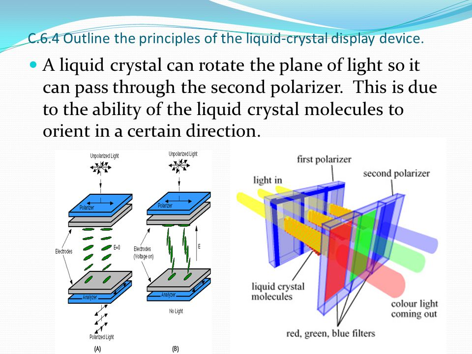 C.6.4 Outline the principles of the liquid-crystal display device. A liquid crystal can rotate the plane of light so it can pass through the second po