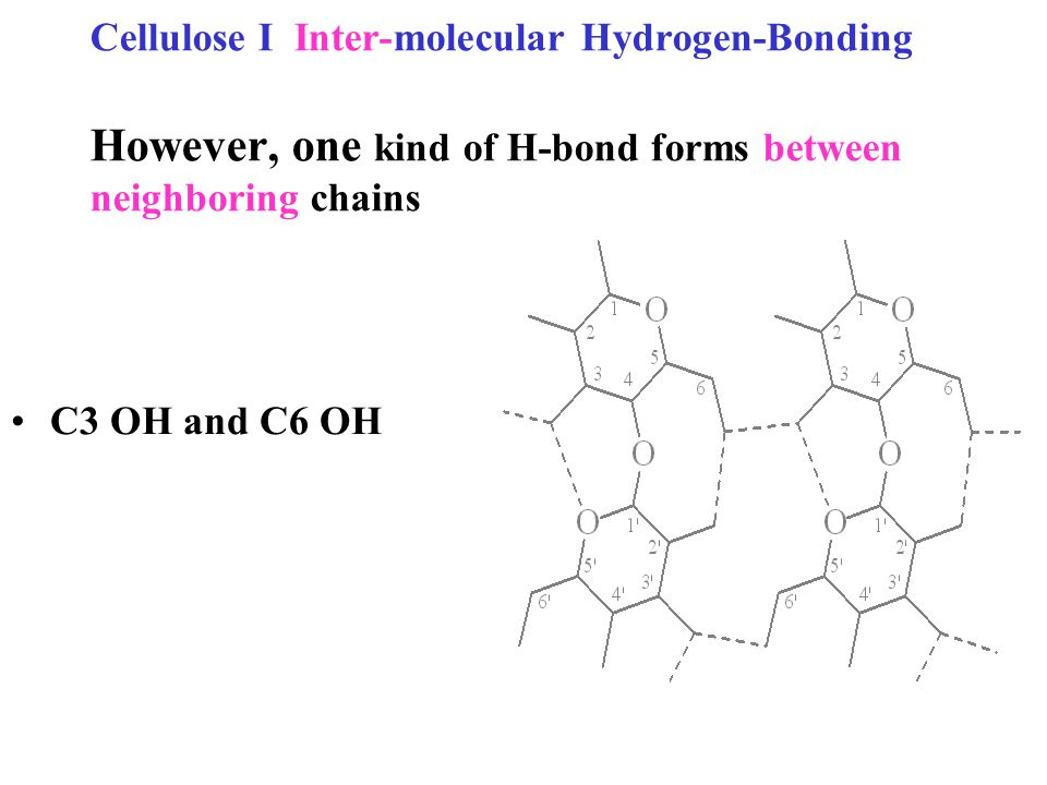 Cellulose I Inter-molecular Hydrogen-Bonding However, one kind of H-bond forms between neighboring chains C3 OH and C6 OH