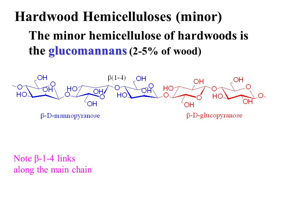 Hardwood Hemicelluloses (minor) glucomannans The minor hemicellulose of hardwoods is the glucomannans (2-5% of wood) Note β-1-4 links along the main c