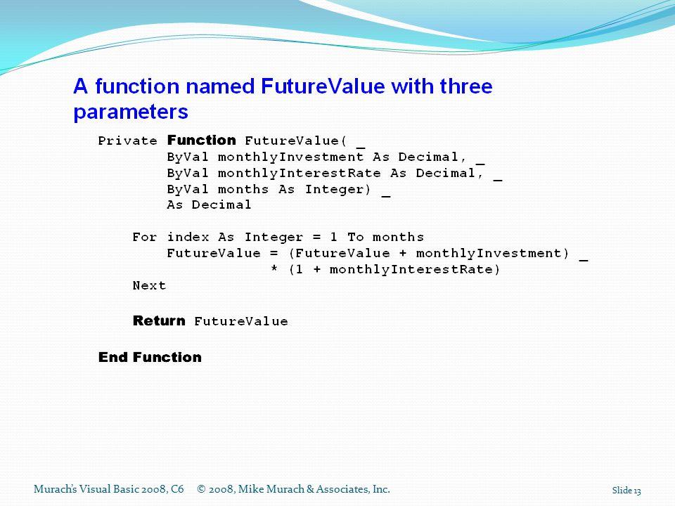 Murach's Visual Basic 2008, C6© 2008, Mike Murach & Associates, Inc. Slide 13