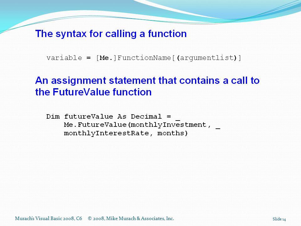 Murach's Visual Basic 2008, C6© 2008, Mike Murach & Associates, Inc. Slide 14