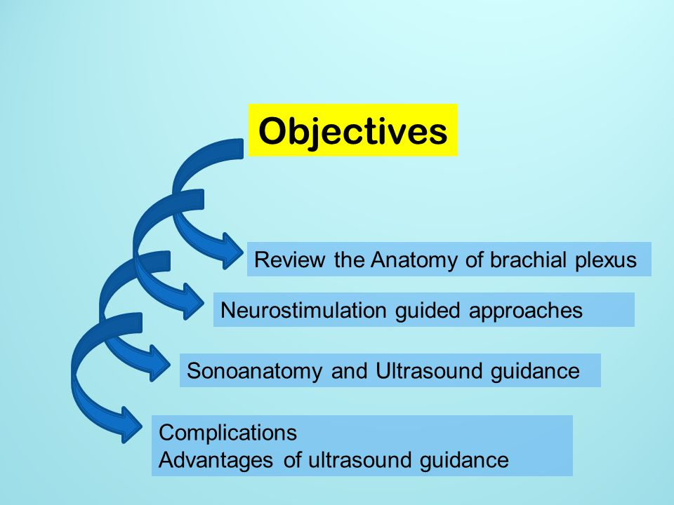 Objectives Review the Anatomy of brachial plexus Neurostimulation guided approaches Sonoanatomy and Ultrasound guidance Complications Advantages of ul