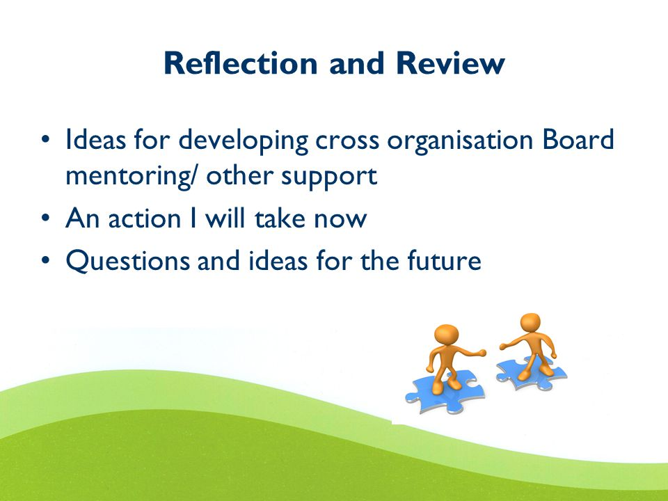 Reflection and Review Ideas for developing cross organisation Board mentoring/ other support An action I will take now Questions and ideas for the future