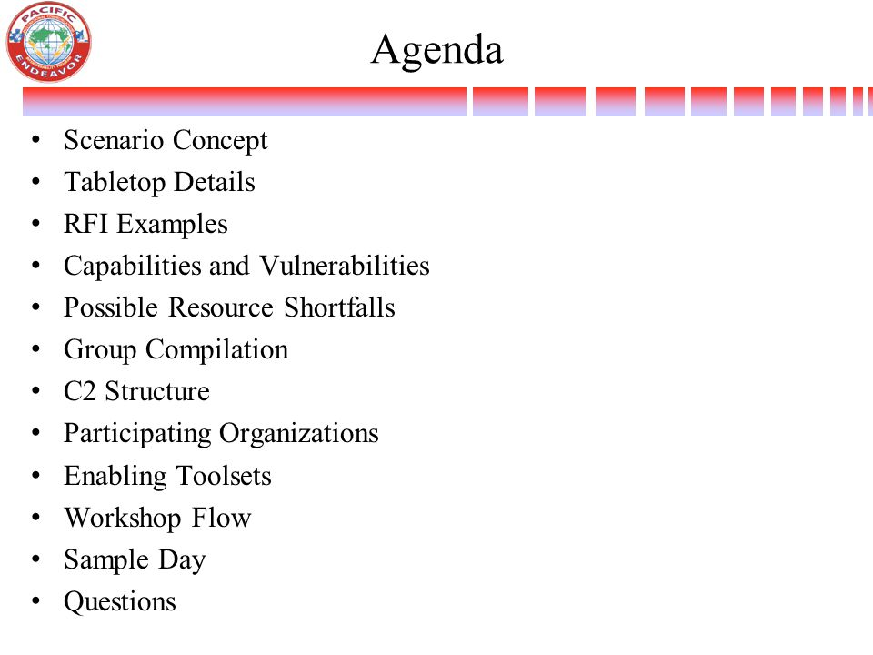 Agenda Scenario Concept Tabletop Details RFI Examples Capabilities and Vulnerabilities Possible Resource Shortfalls Group Compilation C2 Structure Participating Organizations Enabling Toolsets Workshop Flow Sample Day Questions