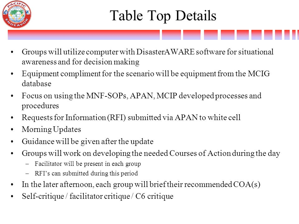 Table Top Details Groups will utilize computer with DisasterAWARE software for situational awareness and for decision making Equipment compliment for the scenario will be equipment from the MCIG database Focus on using the MNF-SOPs, APAN, MCIP developed processes and procedures Requests for Information (RFI) submitted via APAN to white cell Morning Updates Guidance will be given after the update Groups will work on developing the needed Courses of Action during the day –Facilitator will be present in each group –RFI's can submitted during this period In the later afternoon, each group will brief their recommended COA(s) Self-critique / facilitator critique / C6 critique