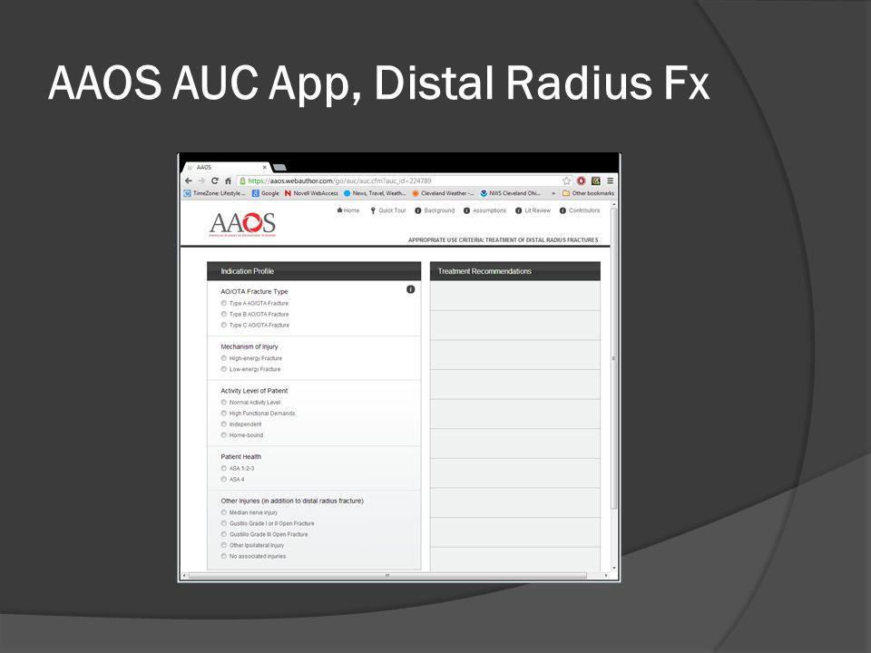 AAOS AUC App, Distal Radius Fx
