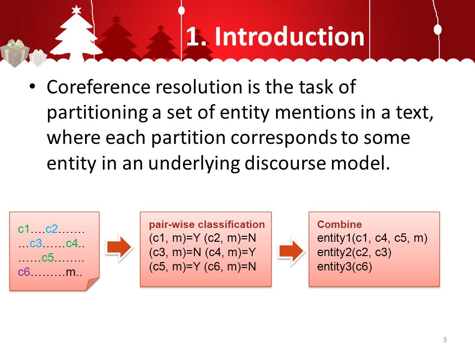 1. Introduction Coreference resolution is the task of partitioning a set of entity mentions in a text, where each partition corresponds to some entity