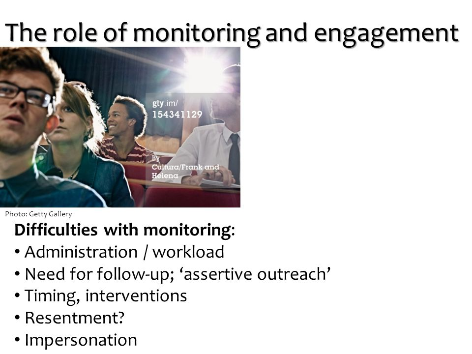 Difficulties with monitoring: Administration / workload Need for follow-up; 'assertive outreach' Timing, interventions Resentment.