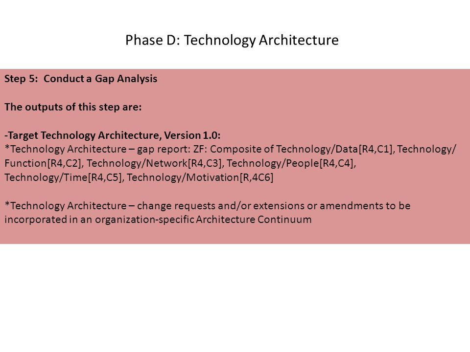 Phase D: Technology Architecture Step 5: Conduct a Gap Analysis The outputs of this step are: -Target Technology Architecture, Version 1.0: *Technology Architecture – gap report: ZF: Composite of Technology/Data[R4,C1], Technology/ Function[R4,C2], Technology/Network[R4,C3], Technology/People[R4,C4], Technology/Time[R4,C5], Technology/Motivation[R,4C6] *Technology Architecture – change requests and/or extensions or amendments to be incorporated in an organization-specific Architecture Continuum