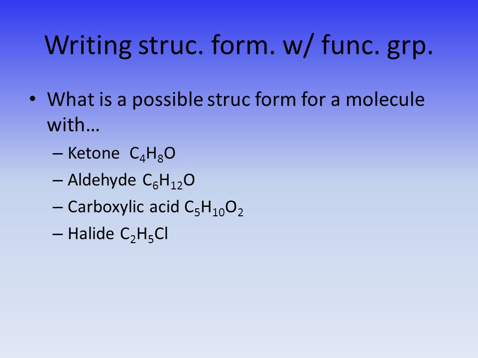Writing struc. form. w/ func. grp.