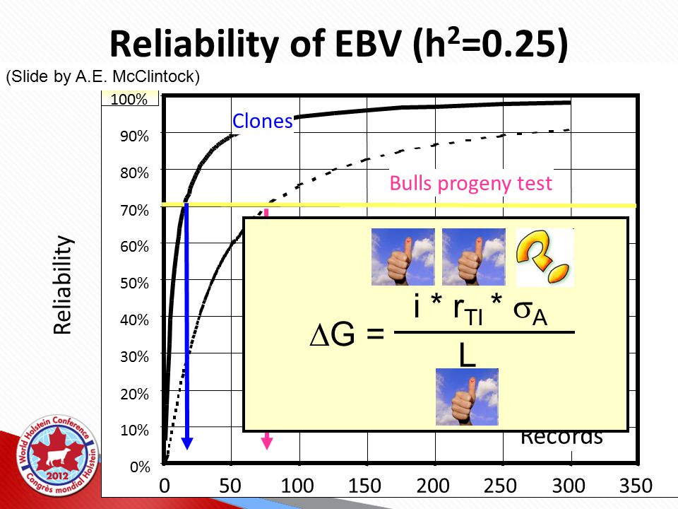 30% 40% 50% 60% 70% 80% 90% 100% 050100150200250300350 Clones Bulls progeny test Records Reliability of EBV (h 2 =0.25) Reliability  G = i * r TI *  A L (Slide by A.E.