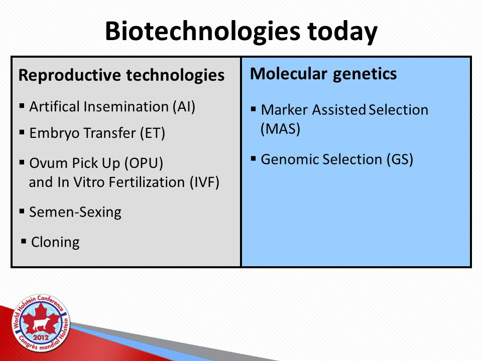 Biotechnologies today Reproductive technologies  Artifical Insemination (AI)  Embryo Transfer (ET)  Ovum Pick Up (OPU) and In Vitro Fertilization (IVF)  Semen-Sexing  Cloning Molecular genetics  Marker Assisted Selection (MAS)  Genomic Selection (GS)