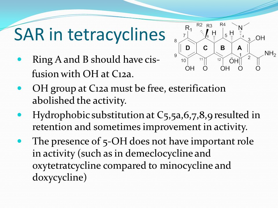 SAR in tetracyclines Ring A and B should have cis- fusion with OH at C12a. OH group at C12a must be free, esterification abolished the activity. Hydro