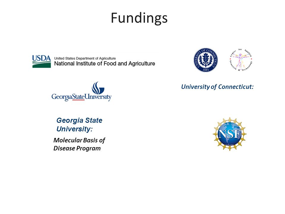 Fundings University of Connecticut: Molecular Basis of Disease Program Georgia State University: