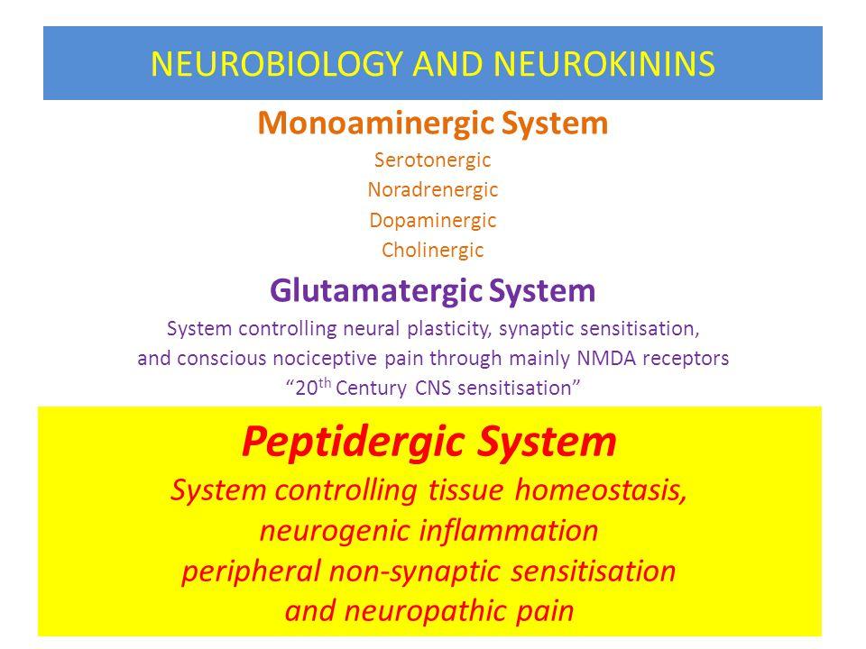 NEUROBIOLOGY AND NEUROKININS Monoaminergic System Serotonergic Noradrenergic Dopaminergic Cholinergic Glutamatergic System System controlling neural p