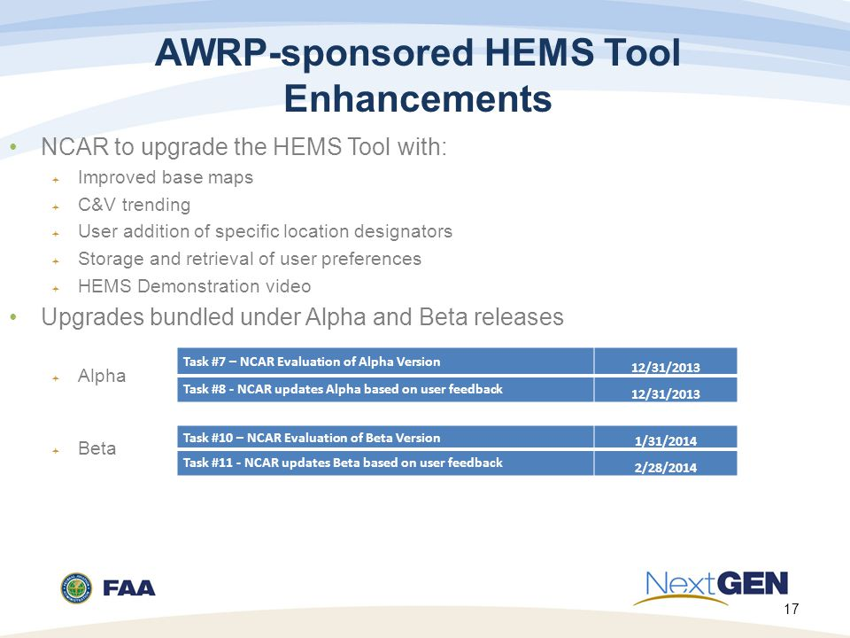 17 AWRP-sponsored HEMS Tool Enhancements NCAR to upgrade the HEMS Tool with:  Improved base maps  C&V trending  User addition of specific location designators  Storage and retrieval of user preferences  HEMS Demonstration video Upgrades bundled under Alpha and Beta releases  Alpha  Beta Task #7 – NCAR Evaluation of Alpha Version 12/31/2013 Task #8 - NCAR updates Alpha based on user feedback 12/31/2013 Task #10 – NCAR Evaluation of Beta Version 1/31/2014 Task #11 - NCAR updates Beta based on user feedback 2/28/2014