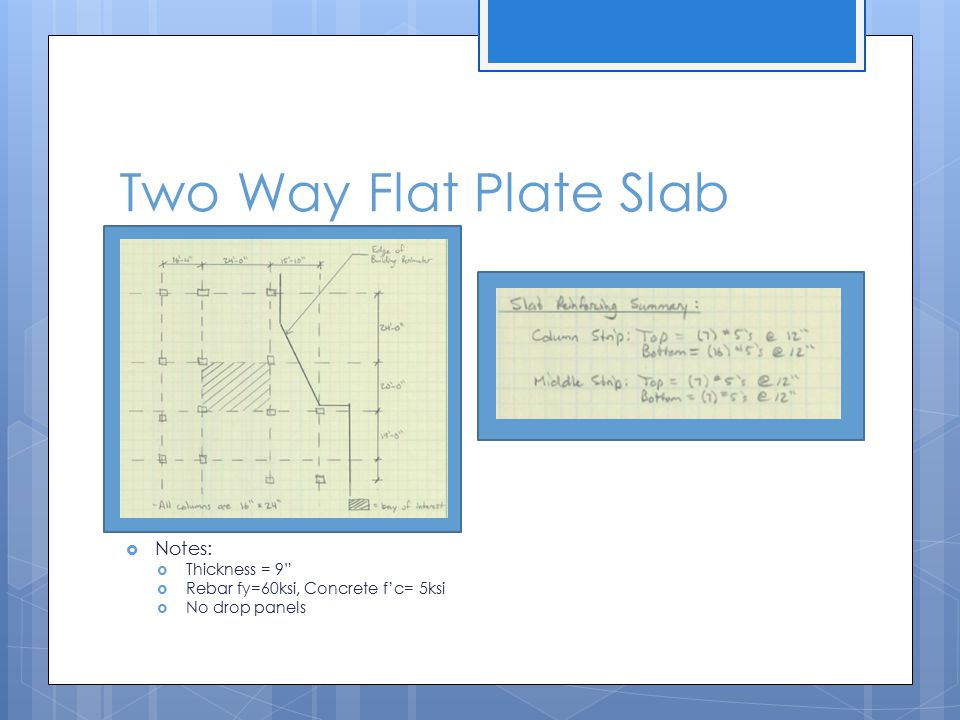 Two Way Flat Plate Slab  Notes:  Thickness = 9  Rebar fy=60ksi, Concrete f'c= 5ksi  No drop panels
