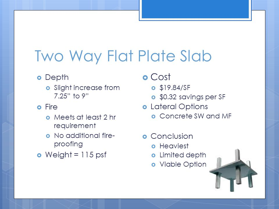 Two Way Flat Plate Slab  Depth  Slight increase from 7.25 to 9  Fire  Meets at least 2 hr requirement  No additional fire- proofing  Weight = 115 psf  Cost  $19.84/SF  $0.32 savings per SF  Lateral Options  Concrete SW and MF  Conclusion  Heaviest  Limited depth  Viable Option