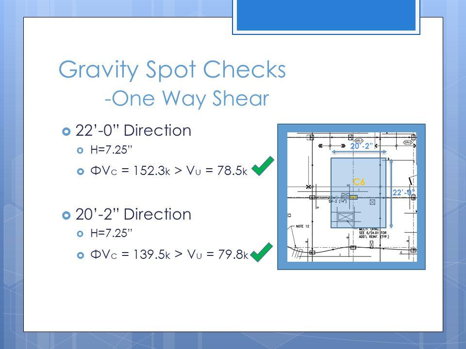 """Gravity Spot Checks -One Way Shear  22'-0"""" Direction  H=7.25""""  ΦV c = 152.3 k > V u = 78.5 k  20'-2"""" Direction  H=7.25""""  ΦV c = 139.5 k > V u ="""