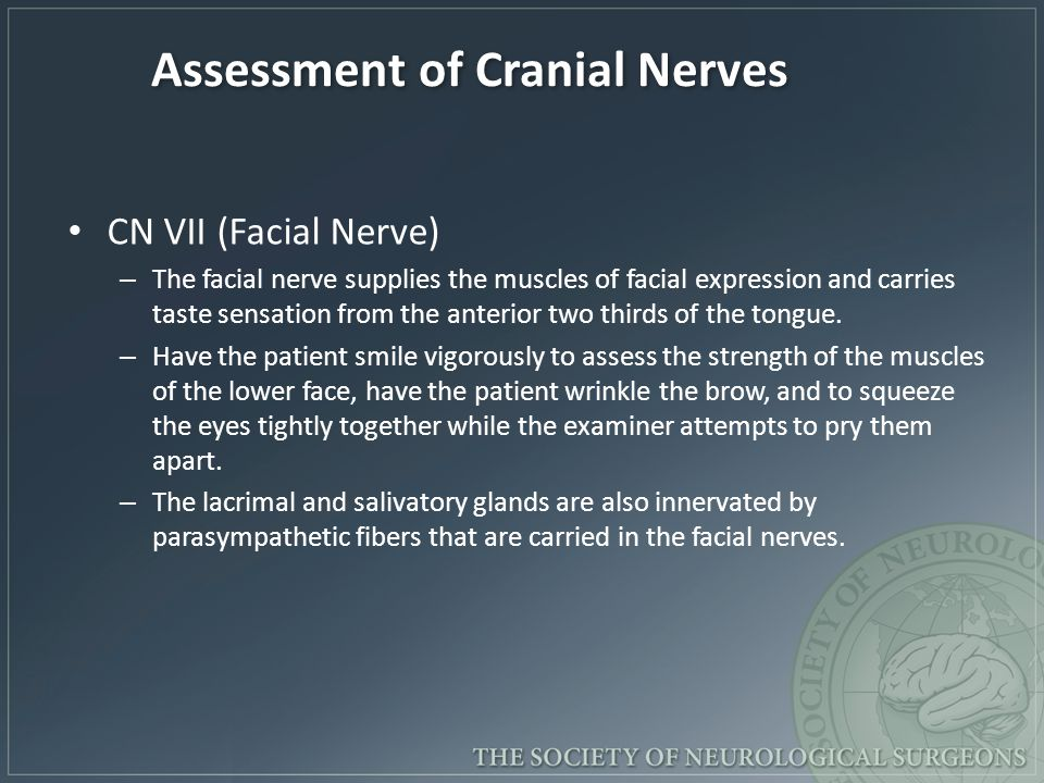 Assessment of Cranial Nerves CN VII (Facial Nerve) – The facial nerve supplies the muscles of facial expression and carries taste sensation from the anterior two thirds of the tongue.