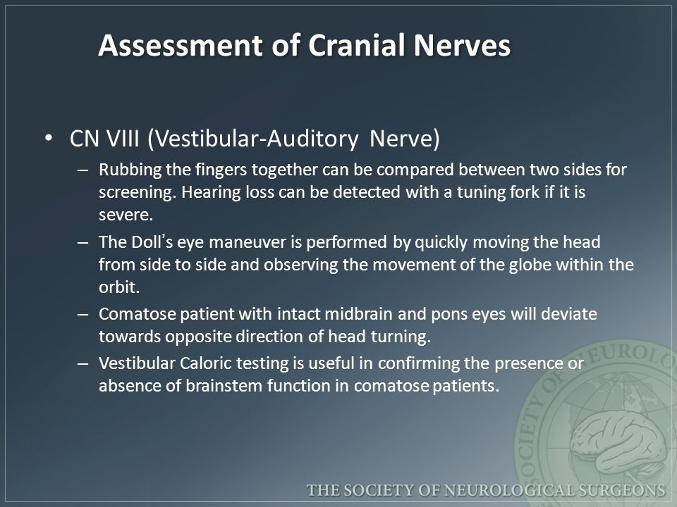 Assessment of Cranial Nerves CN VIII (Vestibular-Auditory Nerve) – Rubbing the fingers together can be compared between two sides for screening. Heari