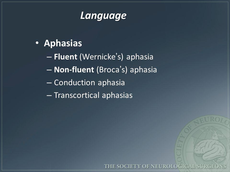 Language Aphasias – Fluent (Wernicke's) aphasia – Non-fluent (Broca's) aphasia – Conduction aphasia – Transcortical aphasias