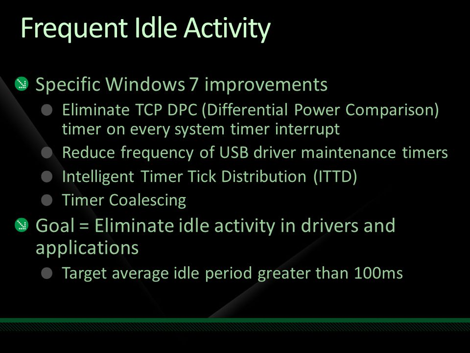 Frequent Idle Activity Specific Windows 7 improvements Eliminate TCP DPC (Differential Power Comparison) timer on every system timer interrupt Reduce frequency of USB driver maintenance timers Intelligent Timer Tick Distribution (ITTD) Timer Coalescing Goal = Eliminate idle activity in drivers and applications Target average idle period greater than 100ms