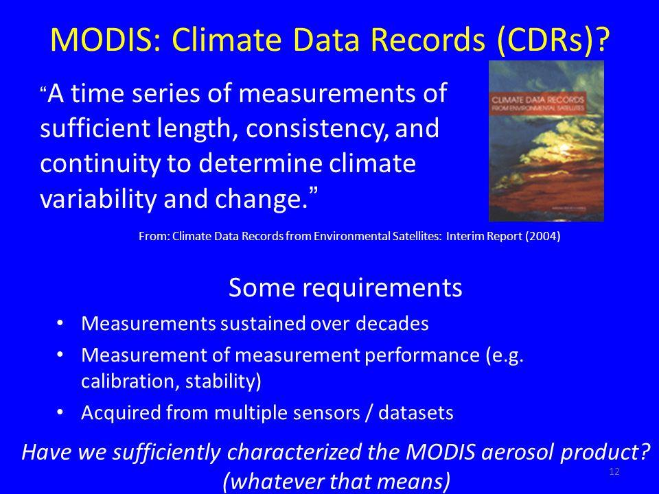 MODIS: Climate Data Records (CDRs)? Some requirements Measurements sustained over decades Measurement of measurement performance (e.g. calibration, st