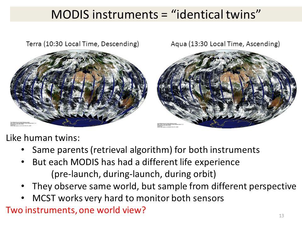 "MODIS instruments = ""identical twins"" Terra (10:30 Local Time, Descending)Aqua (13:30 Local Time, Ascending) Like human twins: Same parents (retrieval"