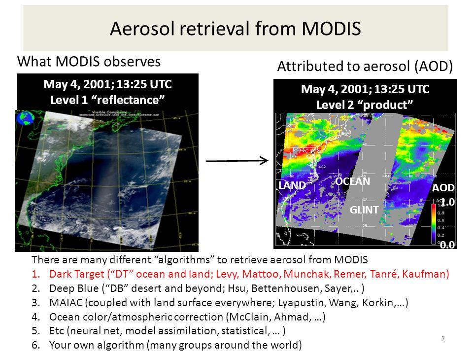"Aerosol retrieval from MODIS OCEAN GLINT LAND May 4, 2001; 13:25 UTC Level 2 ""product"" AOD 1.0 0.0 May 4, 2001; 13:25 UTC Level 1 ""reflectance"" What M"