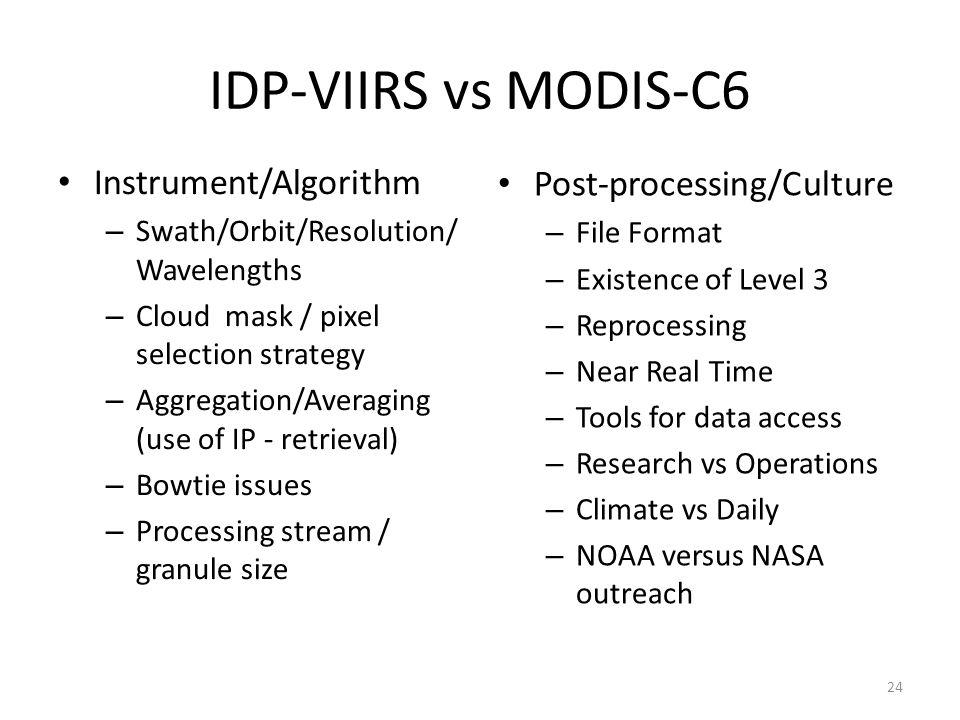 IDP-VIIRS vs MODIS-C6 Instrument/Algorithm – Swath/Orbit/Resolution/ Wavelengths – Cloud mask / pixel selection strategy – Aggregation/Averaging (use