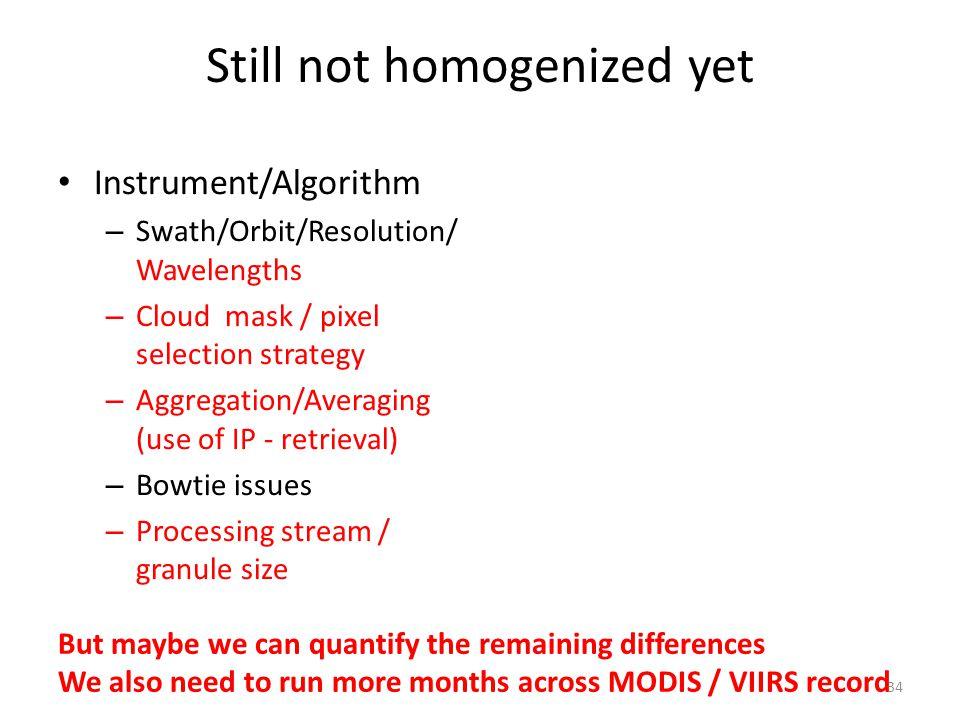 Still not homogenized yet Instrument/Algorithm – Swath/Orbit/Resolution/ Wavelengths – Cloud mask / pixel selection strategy – Aggregation/Averaging (