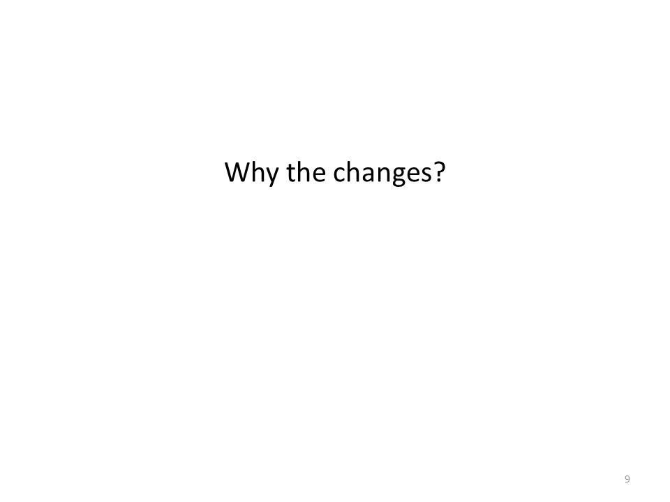 Why the changes? 9