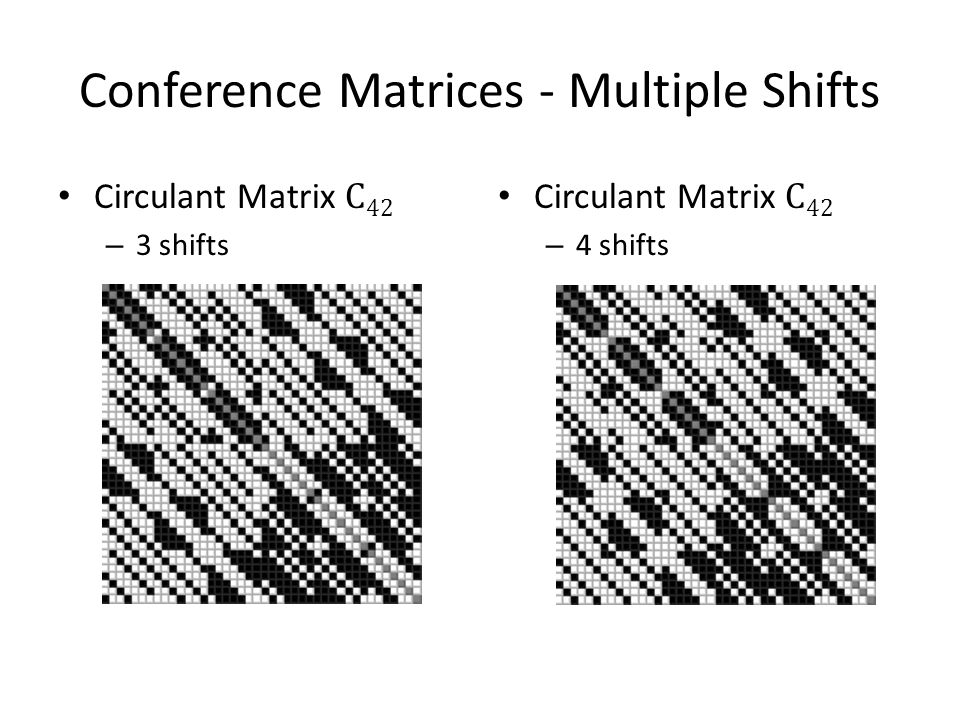 Conference Matrices - Multiple Shifts Circulant Matrix C 42 – 3 shifts Circulant Matrix C 42 – 4 shifts