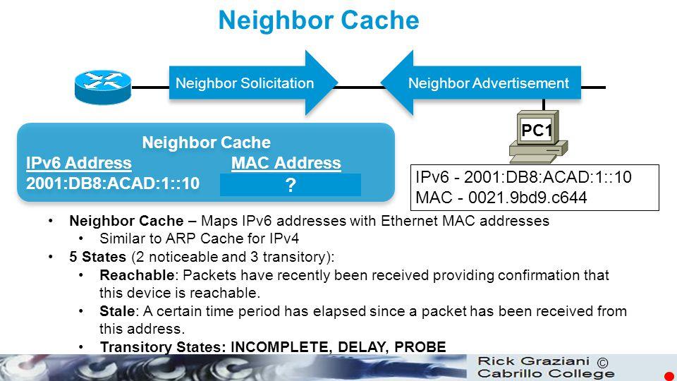 © Neighbor Cache PC1 Neighbor Cache IPv6 Address MAC Address 2001:DB8:ACAD:1::10 0021.9bd9.c644 Neighbor Cache IPv6 Address MAC Address 2001:DB8:ACAD: