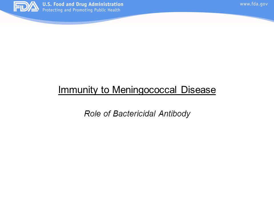 Immunity to Meningococcal Disease Role of Bactericidal Antibody