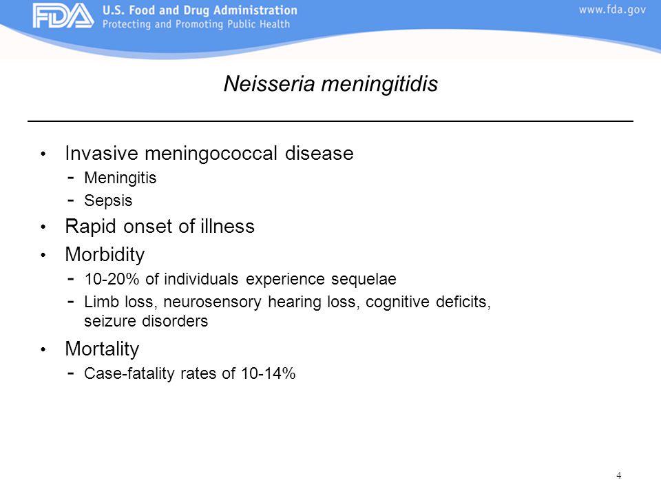 4 Invasive meningococcal disease - Meningitis - Sepsis Rapid onset of illness Morbidity - 10-20% of individuals experience sequelae - Limb loss, neuro