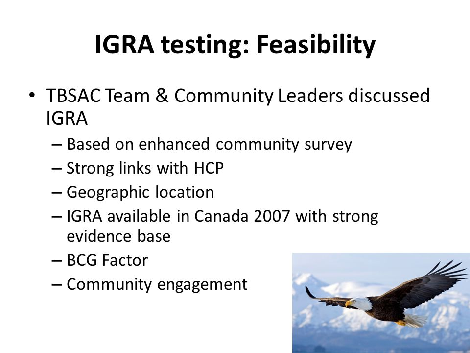 IGRA testing: Feasibility TBSAC Team & Community Leaders discussed IGRA – Based on enhanced community survey – Strong links with HCP – Geographic loca