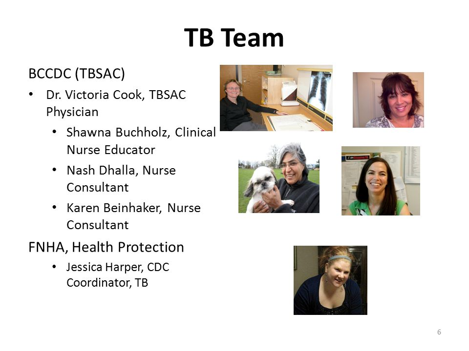 TB Team BCCDC (TBSAC) Dr. Victoria Cook, TBSAC Physician Shawna Buchholz, Clinical Nurse Educator Nash Dhalla, Nurse Consultant Karen Beinhaker, Nurse