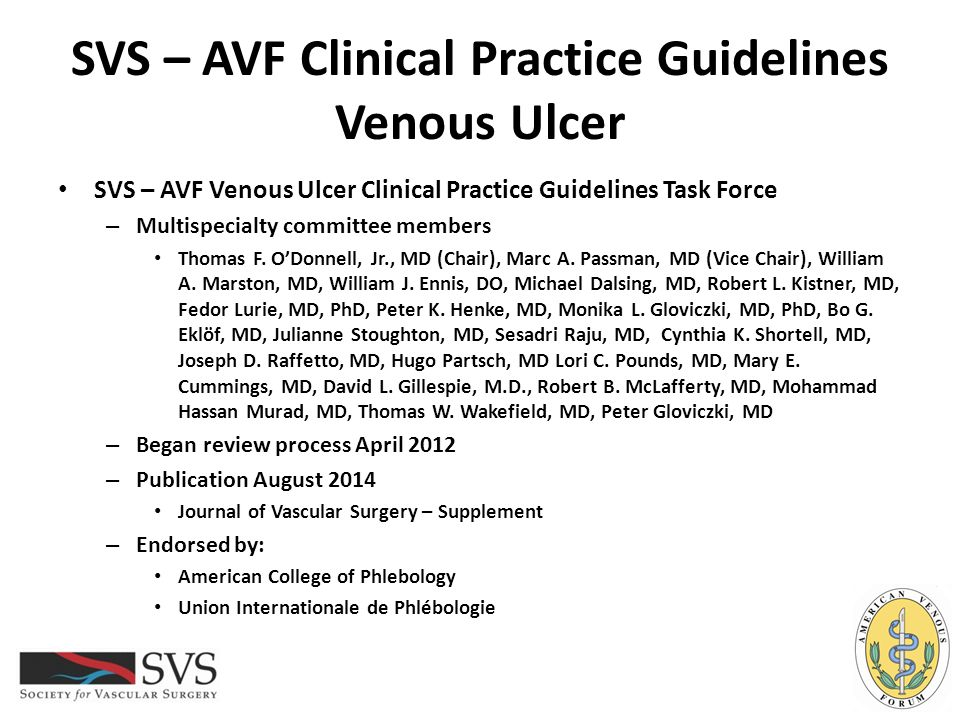 SVS – AVF Clinical Practice Guidelines Wound Care – Anti-inflammatory Guideline 4.17: Anti-Inflammatory Therapies We suggest against using anti-inflammatory therapies for the treatment of venous leg ulcers.