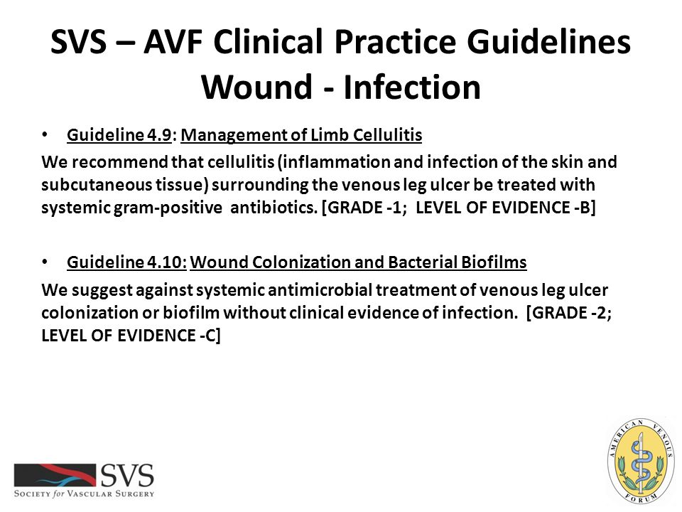 SVS – AVF Clinical Practice Guidelines Wound - Infection Guideline 4.9: Management of Limb Cellulitis We recommend that cellulitis (inflammation and i